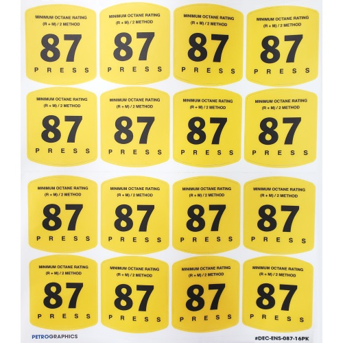 Petrographics Decal: 87 Octane 16 Pack - Fast Shipping - Graphic Overlays & Decals