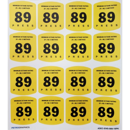 Petrographics Decal: 89 Octane 16 Pack - Fast Shipping - Graphic Overlays & Decals